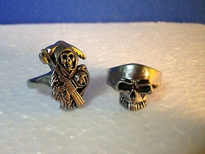 KEITH  RICHARD   Two Large Rings - one skull and one Grim Reaper  SIZE 15-16