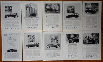 Lot Of 10 Packard Vintage Automobile Print Ads 1920's / 30's