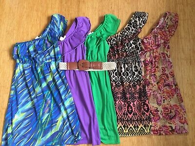 Dress Lot One Shoulder Ruffle 5 piece lot with Belt Womens Juniors Size Small