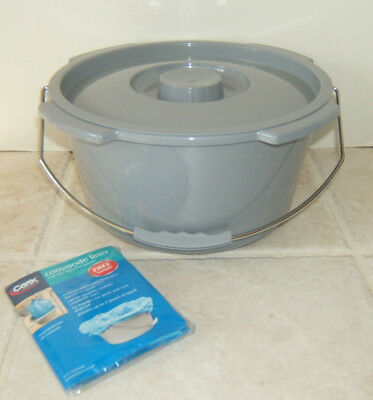 Carex Commode Bucket w/ Lid Replacement Commode Bucket + Commode Liner