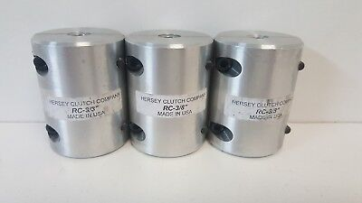 """Lot Of (3) New Old Stock! Hersey Clutch Company Rigid Shaft Couplings Rc-3/8"""""""