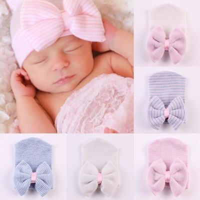 Baby Girls Infant Striped Soft Hat with Bow Knitted Hospital Newborn Beanie Cap