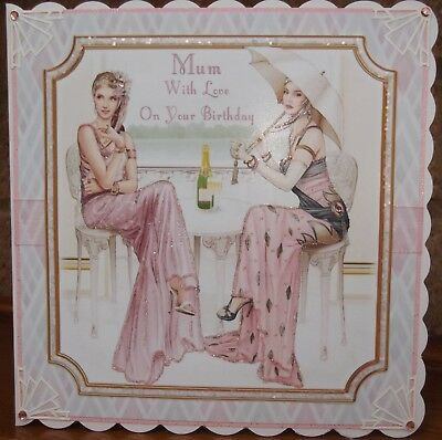 handmade art deco personalised mum spring birthday card with two ladies in pink