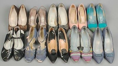 Vtg Women's 1950s High Heel Mixed Lot of 10 6 AA-8.5 A 50s Shoes As Is #5003s