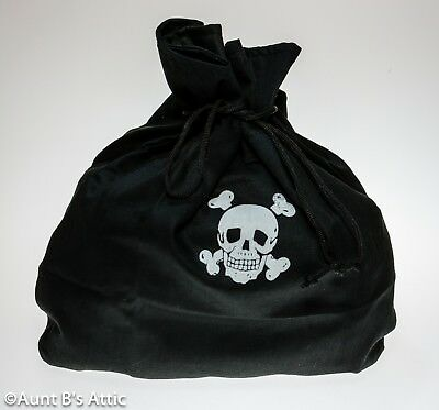 Pirate Coin Pouch Deluxe Large Blk Drawstring Bag With Skull & Crossbones Design