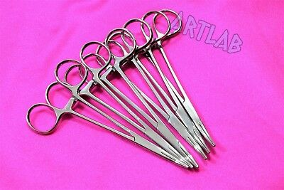 "6 Pc Mosquito Hemostat Forceps 5"" Curved Stainless Steel Surgical Medical"