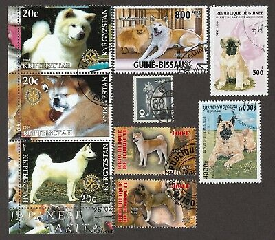 AKITA INU ** Beautiful Int'l Dog Stamp Collection  **Unique Gift Idea**