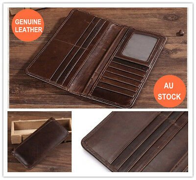 Premium Genuine Leather Mens long Purse Bifold Brown Business Credit Card Wallet