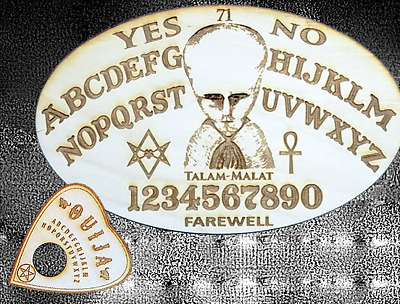 Wood Ouija Board & Planchette With Engraved Cult of Lam by Aleister Crowley