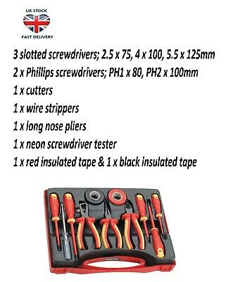 11pc Insulated Electrical Tool Kit for Electricians Suitable for High Voltage