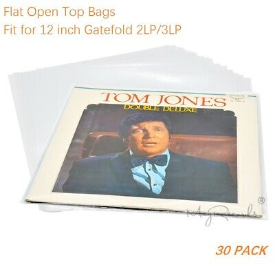 30 Flat Open Top Bag 6.7Mil Vinyl Record Outer Sleeves 12'' Gatefold 2LP 3LP