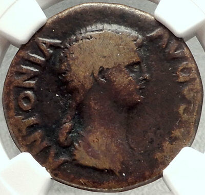 ANTONIA Mark Antony Daughter Claudius Mother 41AD Ancient Roman Coin NGC i68452