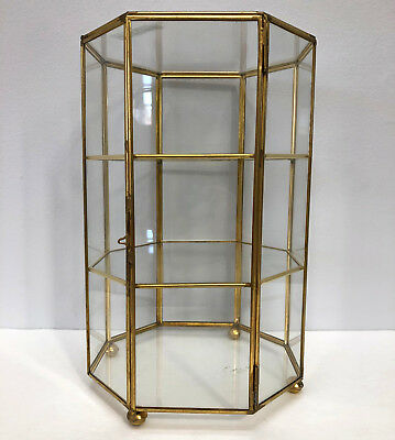 Vintage Miniature Brass Glass 3 Shelf Tabletop Octagon Display Case Curio 11""