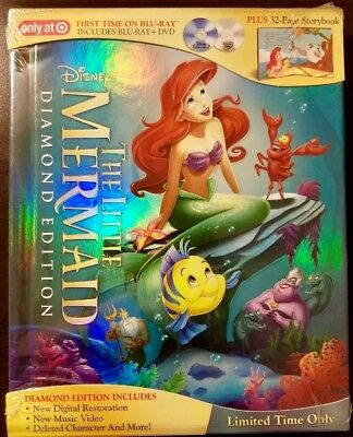 Disney The Little Mermaid Diamond Edition Blu-Ray/ Dvd Storybook Target Rara Oop