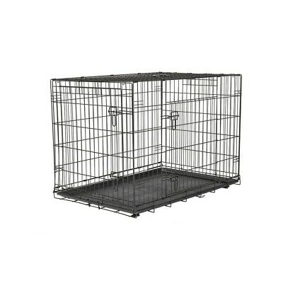 Large Steel Wire Dog Crate Pre-assembled Tray Two Doors Home Travelling Training