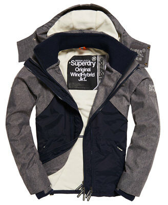 Mens Superdry Hooded SD-Wind Hybrid Jacket French Navy