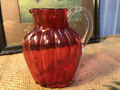 Beautiful Antique Hand Made Ruby Red Glass Jug 12cm High