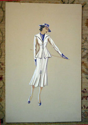 Vintage 1930s LADY FASHION DRAWING & PAINTED   -  SIGNED
