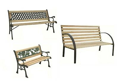 Garden Bench Seat Outdoor Seating Decorative Cast Iron Wooden Rustic Traditional