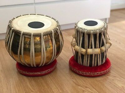 NEW Professional Brass Bayan Tabla Pair +Cushions & Covers, Tuning Hammer & Case
