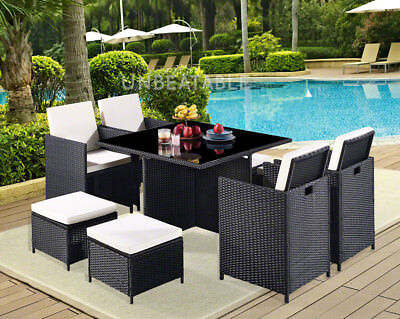 Cube Rattan Garden Furniture 9 Piece Set Colour Choice and with Cover Option