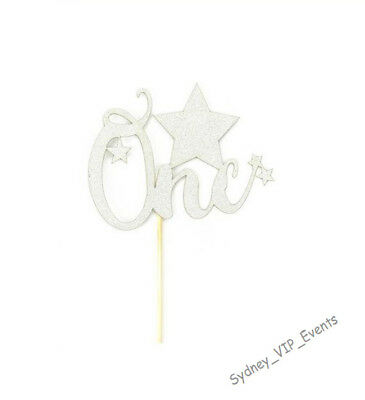 One SILVER GLITTER CAKE TOPPER STAR 1ST FIRST BIRTHDAY PARTY NUMBER DECORATION