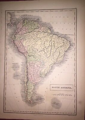 Antique 1883 colour map of SOUTH AMERICA - Good Condition
