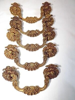 5 Solid Brass Dresser Drawer Pulls Victorian Scalloped Ornate Cabinet Handles