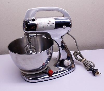 Vintage Hamilton Beach Stand Hand Mixer Chrome Model K w Bowl TESTED FAST SHIP