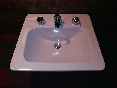 "Vintage Crane Westland Mid Century Modern ""Shell Pink"" Sink Bathroom Drop in"