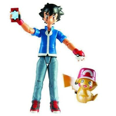 """New POKEMON PIKACHU & ASH Action Figures Tomy 5"""" Limited Edition"""