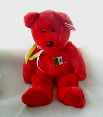 """TY Beanie Buddies Bear Red Mexican Flag  """"Osito"""" 1999 New W/tags"""