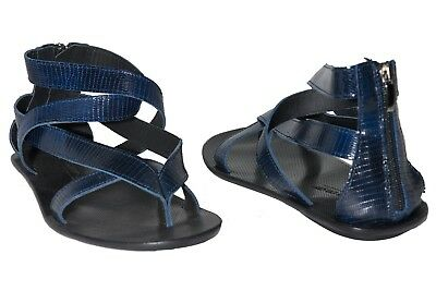 4a025e8cd41ba Giovanni Conti 234 Italian mens navy blue leather thong strappy sandals  w zipper