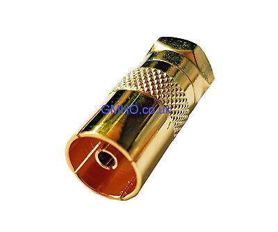 Coaxial TV Cable Adapter F-Type Male To Female PAL RF Plug Adapter GOLD PLATED