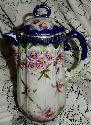 Antique Nippon Japan cobalt blue pink flowers Chocolate Coffee Pot 8.5""