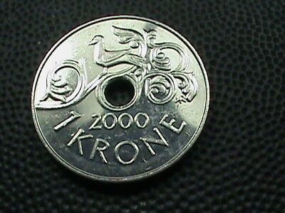 NORWAY  1 Krone   2000   UNCIRCULATED  ,   $ 2.99  maximum  shipping  in  USA