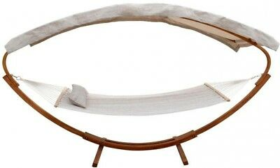 Leisure Season 6.5 ft. Wooden Art Deco Hammock Stand with Hammock and Canopy