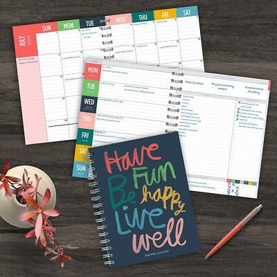 July 2018 - June 2019  Have Fun by Hallmark Medium Weekly Monthly Planner