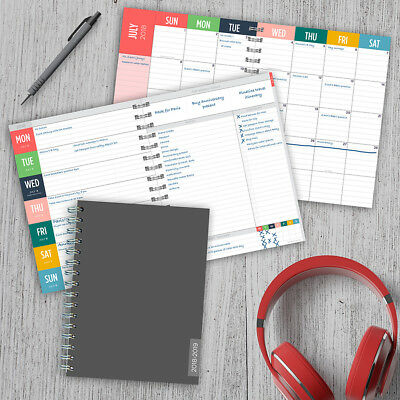 July 2018 - June 2019  Charcoal Medium Weekly Monthly Planner
