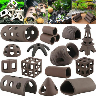19 Styles Aquarium Ceramic Rock Cave Shrimp Fish Tank Hide Shelter Breeding Cave