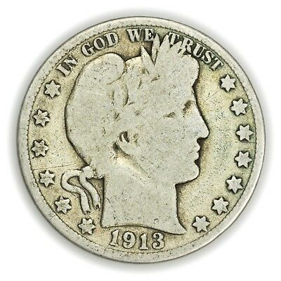 1913-D Barber Half Dollar, Large Silver Coin [3642.05]