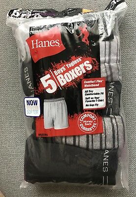 Hanes Youth Boys Tagless Boxers Briefs 5-Pairs Gray Black MED 10-12