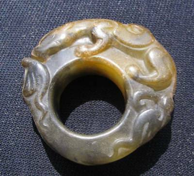 antiuqe.natural  jade hand carved dragon ring sz14 collectable