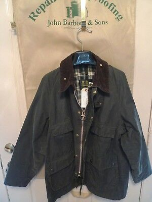 Barbour-  A100 Bedale  Waxed Cotton  Jacket -Rare-Four Front Pockets- Sage-46