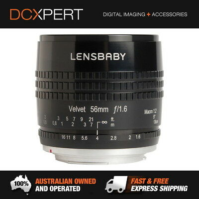 Lensbaby Velvet 56Mm F/1.6 Lens For Canon (Black) - 1 Yr Australian Warranty