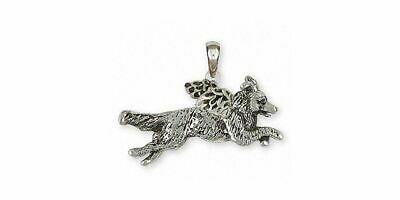 Border Collie Angel Pendant Jewelry Sterling Silver Handmade Dog Pendant BDC41X-