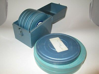 Lot Carsen Permaflex 5 6 7 Inch Reel Can Set With case  8mm Film. Vtg Roll EZ