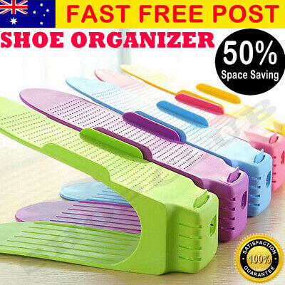 6/10/20 Pack Easy Shoe Rack Shoe Slots Organizer Space Saver Rack Holder NEW