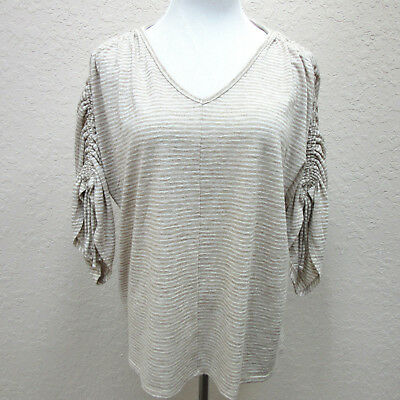 Chico's size 3 Beige Cream Striped V-neck Dolman Drawstring Sleeve Knit Top