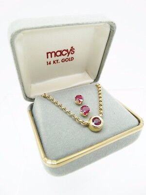 NIB Macy's 14 KT Gold 5 mm Ruby Pendant Necklace & Studded Earrings Set